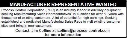 Process Control Corporation - Manufacturer Representative Wanted