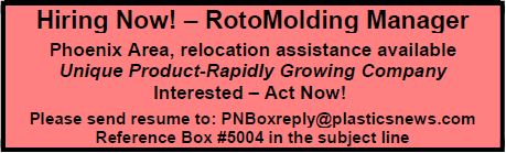 Hiring Now! - RotoMolding Manager