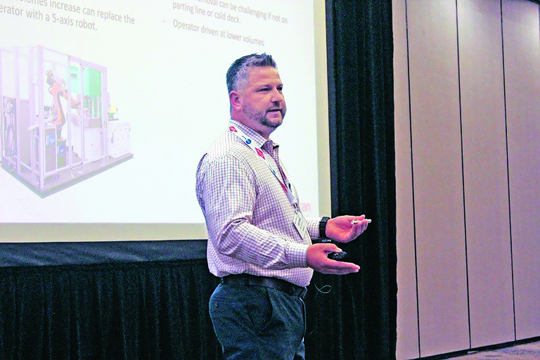 Cutline: Dennis Rector, director of engineering at Chicago-based Flexan, discussed the process liquid silicone rubber manufacturers should use when determining whether to add automation at LSR 2019 in Schaumburg, Ill. Rubber & Plastics News photo by Chris Sweeney.