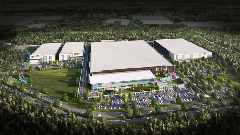 ApiJect Campus with Gigafactory and Needle Manufacturing Facility. Will be able to fill and finish up to 3 billion doses annually of sterile liquid pharmaceuticals. Located in Research Triangle Park, North Carolina (architect's rendering).