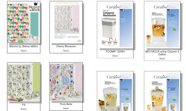A screenshot of new products made by Creative Bath Products LLC.