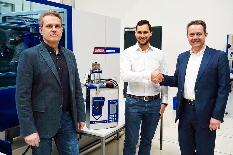 From left to right: Erhard Fux, Wittmann material handling department manager, Aaron Farrag, product manager compressed air drying and mold cooling, Michael Wittmann, Wittmann managing director.