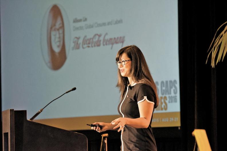 Allison Lin, then director of global closures and labels for Coca-Cola Co. speaking at Plastics Caps & Closures 2016 in Chicago.