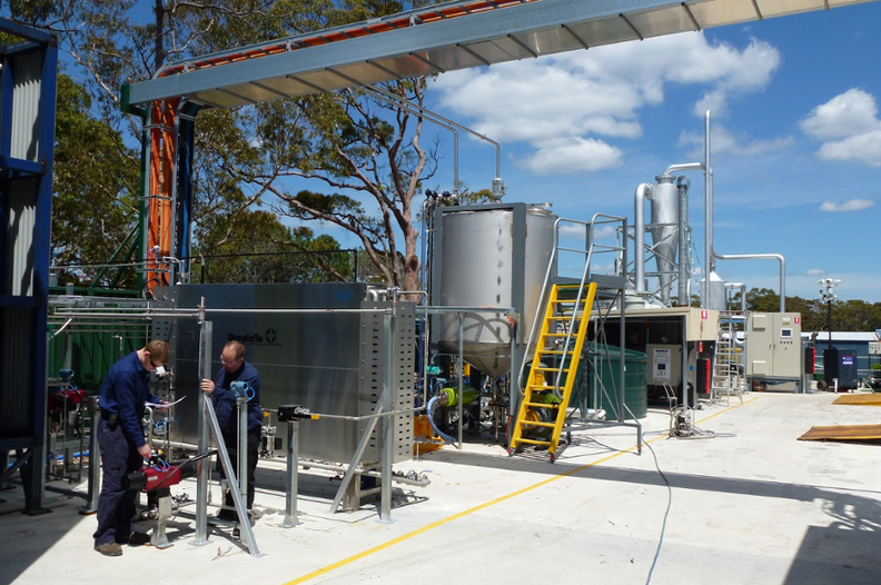 Caption: Licella's prototype plastic recycling plant in Somersby, Australia. Photo supplied by University of Sydney.