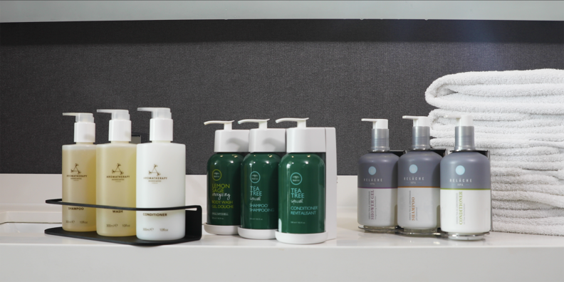 Photo from Marriott. To reduce single-use plastic, Marriott International hotels across the globe are continuing to move to larger bottles of shampoo, conditioner and body wash in guestroom showers.